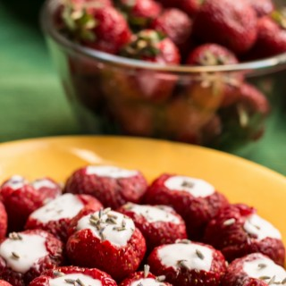 Lavender and Coconut Cream-Filled Strawberries