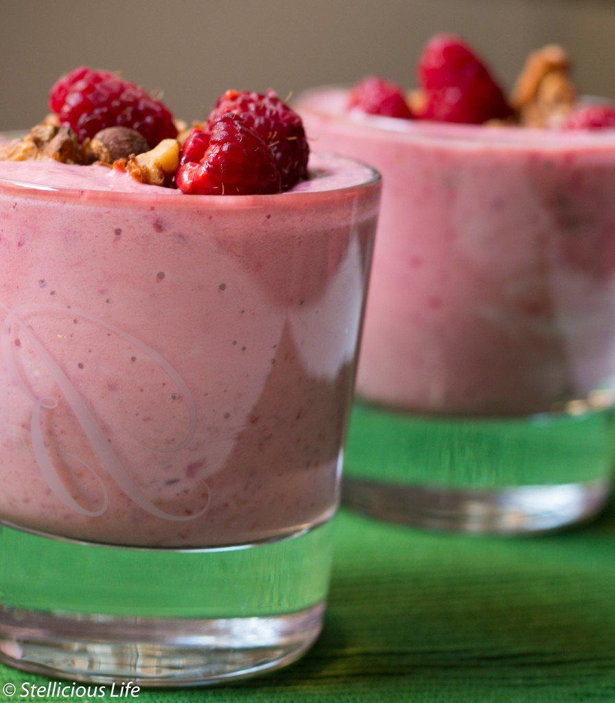 Super Easy 4 Ingredient Raspberry Granola Yoghurt Smoothie