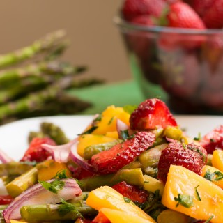 Fruity and Colourful Strawerry Mango Asparagus Salad