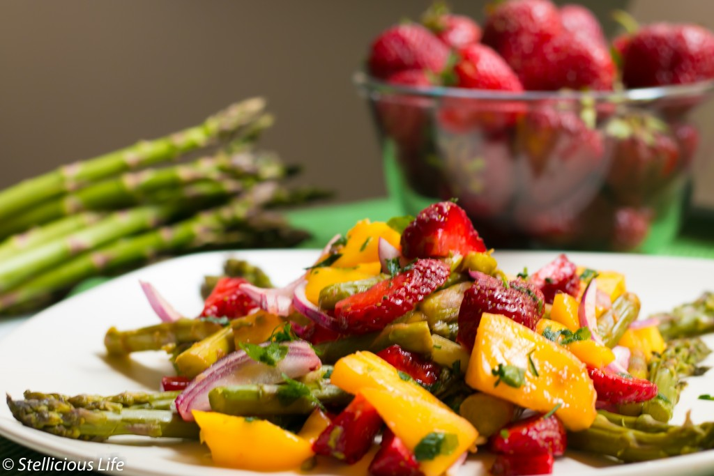 Fruity and Colourful Strawberry Mango Asparagus Salad