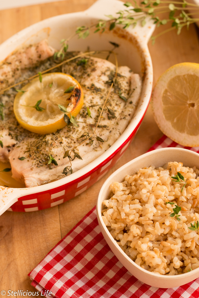 For a quick and light lunch or dinner nothing better than healthy, protein packed fish baked with lemon and thyme for a fresh yet delicious Mediterranean taste. Best with salad or grilled vegetables, especially fresh or grilled tomatoes, which complement the fish wonderfully!