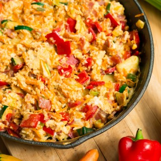 For a hearty, filling and protein packed breakfast or brunch eat your scrambled eggs loaded up with plenty of veggies. Not only it looks cheery and colourful but is healthy and delicious as well!