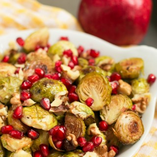 Make these Maple Roasted Balsamic Brussels Sprouts with Walnuts and Pomegranate for an easy no-fuss yet delicious and healthy side dish to accompany holiday meals or simply add some fanciness to a weeknight dinner.